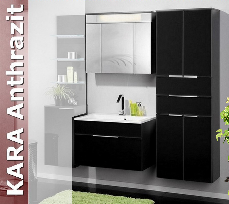 fackelmann badm bel kara anthrazit set 4 1 g glasbecken badm bel und badezimmer. Black Bedroom Furniture Sets. Home Design Ideas
