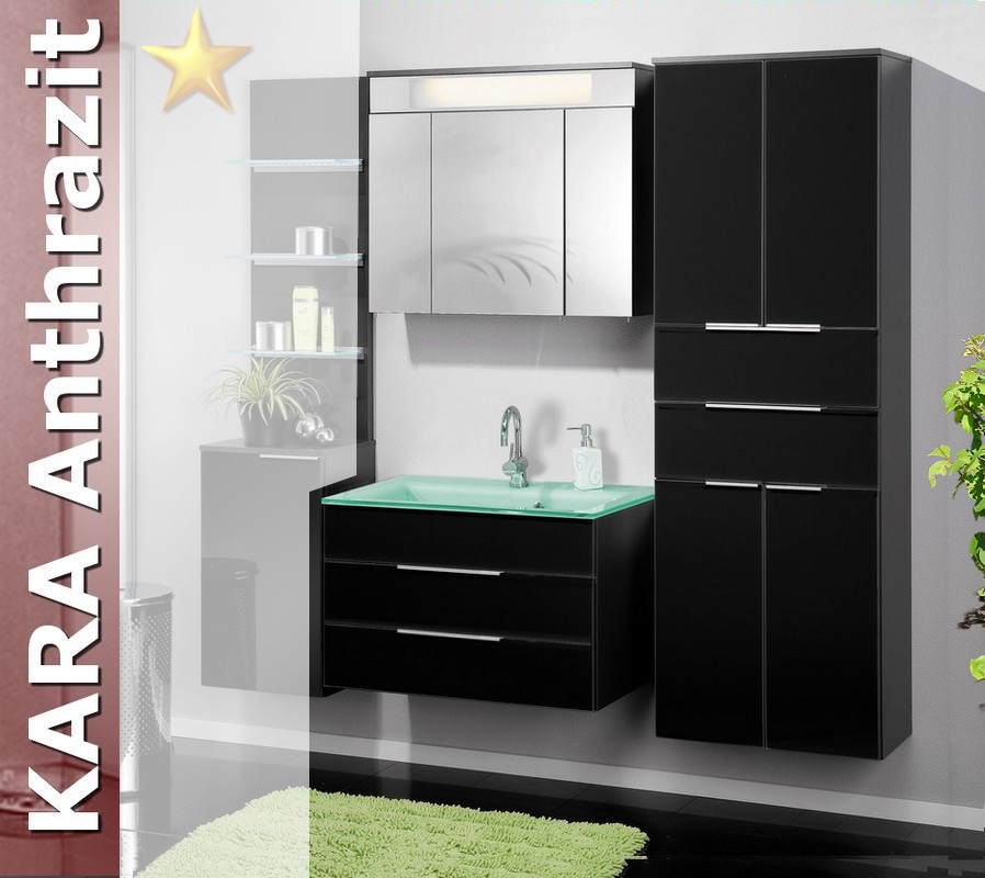 fackelmann badm bel kara anthrazit set 9 mit glasbecken. Black Bedroom Furniture Sets. Home Design Ideas
