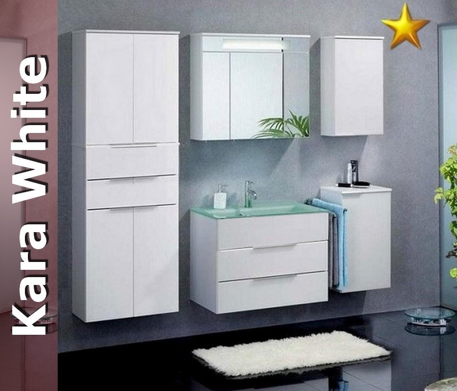 fackelmann badm bel kara white set 2 mit glasbecken. Black Bedroom Furniture Sets. Home Design Ideas