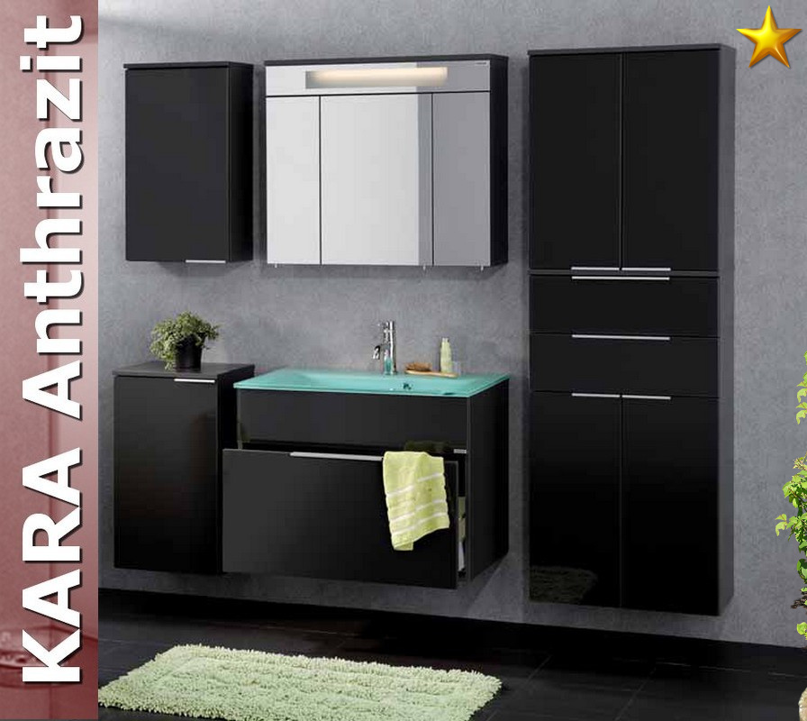 fackelmann badm bel kara anthrazit set 6 1 rgl glasbecken ebay. Black Bedroom Furniture Sets. Home Design Ideas