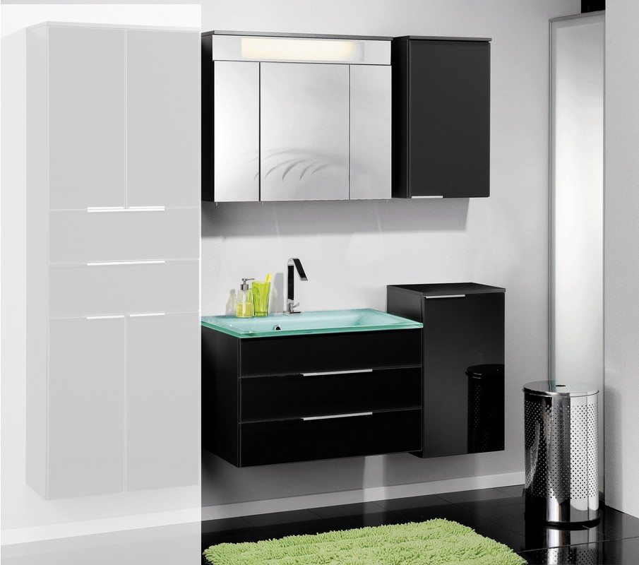 fackelmann badm bel kara anthrazit set 5 2 rg glasbecken mintgr n ebay. Black Bedroom Furniture Sets. Home Design Ideas